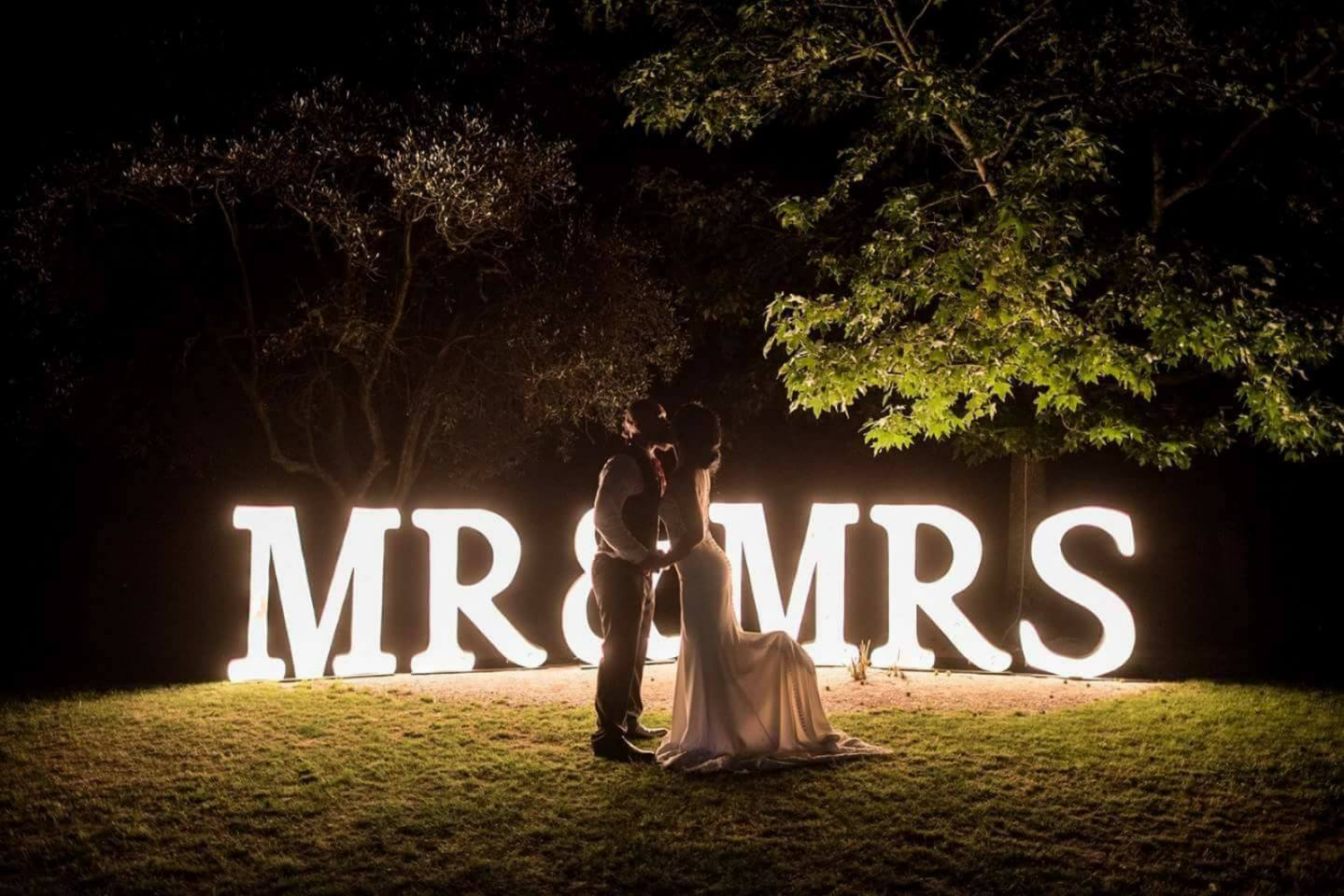 marquee letter light mr & mrs wedding